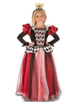 disfraz de reina de corazones encantadora niña