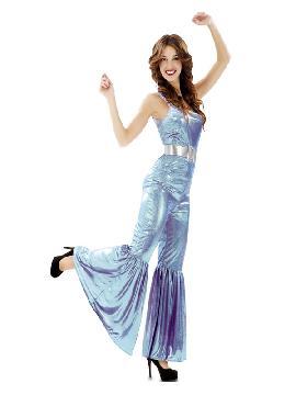 disfraz de reina de la discoteca azul mujer
