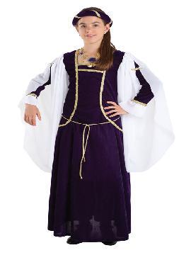 Disfraz de reina medieval niña infantil. Podrás convertir a tu pequeña en este personaje literario que vivió una de las más bonitas historias de amor jamás contadas, ideal para los mercados y ferias medievales. fabricación nacional
