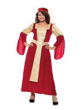disfraz de reina medieval roja mujer