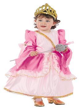 Disfraz de reina rosa para bebé. Conseguirás que tu niña se transforme en la hermosa protagonista del cuento de la bella durmiente. Este disfraz es ideal para tus fiestas temáticas de princesa y reina para infantil. fabricacion nacional