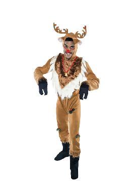 Disfraz de reno rudolf hombre adulto. serás el mejor compañero de trabajo en Navidad de  Papá Noel. Sé original cuando te disfraces en Celebraciones Navideñas. Este disfraz es ideal para tus fiestas temáticas de animales y navidad adultos.