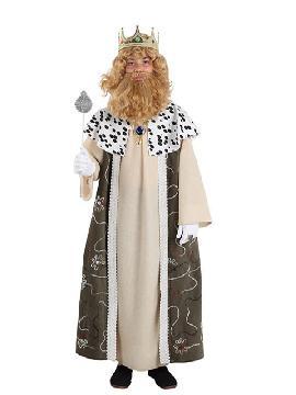 Disfraz de rey Gaspar infantil. Es perfecto para celebraciones navideñas, tales como belenes vivientes,desfiles o las tradicionales representaciones escolares.Este disfraz es ideal para tus fiestas temáticas de disfraces reyes magos para niños.