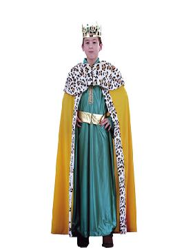 Disfraz de rey mago Melchor niño deluxe. Es perfecto para celebraciones navideñas, tales como belenes vivientes,desfiles o las tradicionales representaciones escolares.Este disfraz es ideal para tus fiestas temáticas de disfraces reyes magos para niños.
