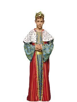 Disfraz de rey mago Melchor niño. Es perfecto para celebraciones navideñas, tales como belenes vivientes,desfiles o las tradicionales representaciones escolares.Este disfraz es ideal para tus fiestas temáticas de disfraces reyes magos para niños.