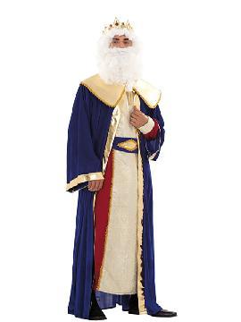 Disfraz de Rey Melchor deluxe adulto. Es perfecto para celebraciones navideñas, tales como belenes vivientes,desfiles o las tradicionales representaciones escolares.Este disfraz es ideal para tus fiestas temáticas de disfraces reyes magos adulto