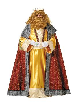 Disfraz de rey Melchor lujo adulto. Es perfecto para celebraciones navideñas y cabalgatas de reyes. tales como belenes vivientes,desfiles o las tradicionales representaciones escolares.Este disfraz es ideal para tus fiestas temáticas de disfraces reyes magos adulto