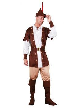 disfraz de robin hood marron hombre. Este completo traje es idóneo para convertirse en un arquero de la edad media en ferias medievales, recrear a un fornido leñador en Carnaval. Este disfraz es ideal para tus fiestas temáticas de disfraces cuentos populares,famosos y músicos para adultos en pareja y familia