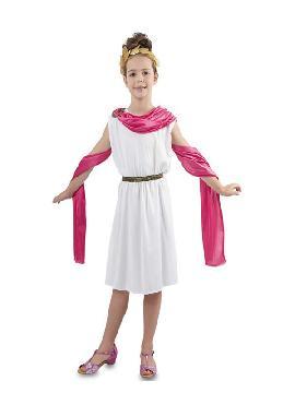 disfraz de romana blanca y rosa niña