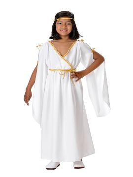 Disfraz de romana para niña. Disfruta representando a personajes de las película más míticas sobre la Antigua Roma en Fiestas Temáticas. Este disfraz es ideal para tus fiestas temáticas de disfraces romanos y egipcios infantil. fabricacion nacional.