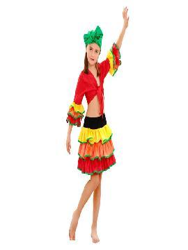 disfraz de rumbera para niña infantil. Compra tu disfraz barato y una bailarina de samba brasileira con este colorido traje. Y deslumbrar en festivales escolores.