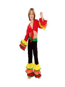 disfraz de rumbero para niño infantil. Compra tu disfraz barato y una bailarin de samba brasileira con este colorido traje. Y deslumbrar en festivales escolores.