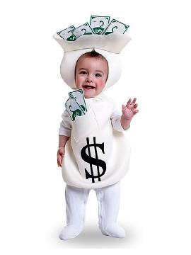 disfraz de saco con dinero para bebe