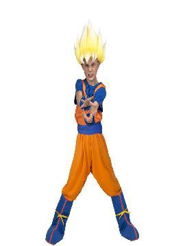 disfraz de saiyan son goku de dragon ball con peluca niño