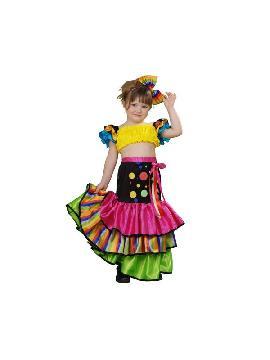 disfraz de salsa para niña infantil. Compra tu disfraz de rumbera barato y una bailarina de samba brasileira con este colorido traje. Y deslumbrar en festivales escolores.