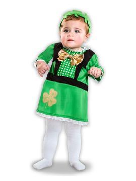 Este disfraz de san patricio para bebe de chica es ideal para fiestas temáticas irlandesas con su pajarita y su tocado de trebol  verde. Este precioso disfraz infantil es perfecto para carnaval,  fiestas irlandesas o alemanas.
