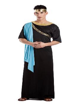 disfraz de senador romano negro adulto. Inspirado en la vestimenta típica de los emperadores y senadores romanos, o de los miembros de la aristocracia griega antigua. Este disfraz es ideal para tus fiestas temáticas de disfraces de guerreros y arabes, romanos y egipcios para grupos y familias.