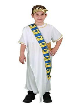 disfraz de senador romano niño. Te convertirá en el regente del Imperio Romano que terminó la gran obra del Coliseo. Podrás dirigir tus tropas imperiales y tu guardia pretroriana en Carnavales. Este disfraz es ideal para tus fiestas temáticas de disfraces romanos y egipcios para niño infantiles.