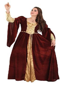 disfraz de señora medieval lujo mujer. Compra tu disfraz barato es ideal para fiestas temáticas inspiradas en la edad media, ferias y mercados  medievales.