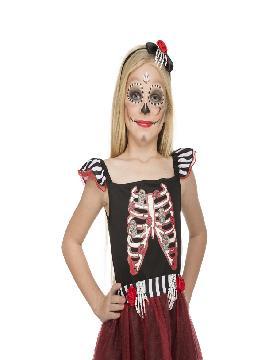 disfraz de señorita esqueleto roja para niña
