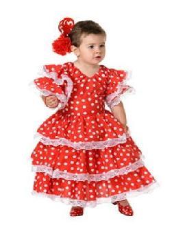 disfraz de sevillana rojo con lunares niña. Compra tu traje barato y original para fiestas regionales y feria de abril.Ser una bailaora de sevillanas y flamenco.Este disfraz es ideal para tus fiestas temáticas de disfraces de sevillana,flamencas y andaluzas para niñas infantiles.