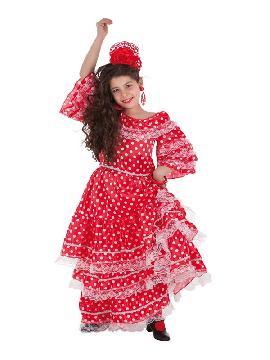 disfraz de sevillana rojo y blanco para niña