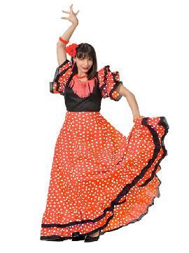 disfraz de sevillana vestido lunares para mujer. Compra tu disfraz barato adulto para tu grupo. Este traje es ideal para tus fiestas temáticas de andaluces y flamencos. fabricacion nacional