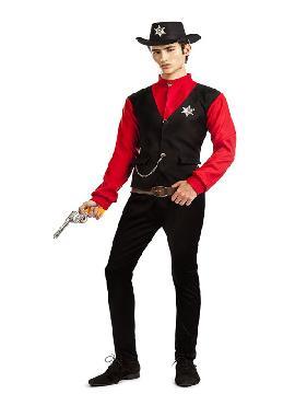 disfraz de sheriff para hombre. Para la fiesta temática de vaqueros. Compra tu disfraz de sheriff barato para grupo.Este disfraz es ideal para parejas o tus fiestas temáticas de disfraces de indios y vaqueros para el oeste adulto