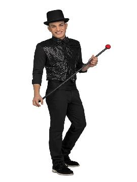 disfraz de showman con chaleco negro hombre