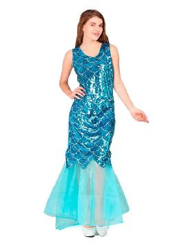 disfraz de sirena azul con lentejuelas mujer