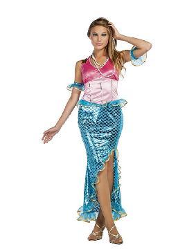 disfraz de sirena para mujer. Te podras convertir en  pequeña de la familia y podrá sentirse como Ariel, la sirena más famosa de Disney. Será la princesa en Fiestas de Cumpleaños o Carnaval. Este disfraz es ideal para tus fiestas temáticas de disfraces de famosos y cuentos adulto en familia