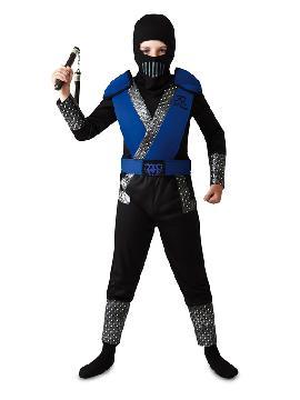 disfraz de sub zero mortal kombat azul niño