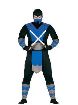 disfraz de subzero mortal kombat hombre adulto. Convierte en un ninja de hielo y se el personajes más autentico de los años 80 en la epoca de los mejores videojuegos como el mortal kombat. Este disfraz es ideal para tus fiestas temáticas de disfraces de ninja,chinos,orientales y geishas adulto.