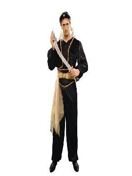 disfraz de sultán negro hombre adulto.  Serás el más rico y poderoso en tus Fiestas Temáticas,navidad o cabalgatas de reyes. Prepárate para que todas las mujeres caigan rendidas a tus pies, y deseen ser tu princesa.