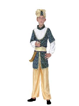 Disfraz de sultán niño. Serás el más rico y poderoso en tus Fiestas Temáticas,navidad o cabalgatas de reyes. Prepárate para que todas las mujeres caigan rendidas a tus pies, y deseen ser tu princesa.