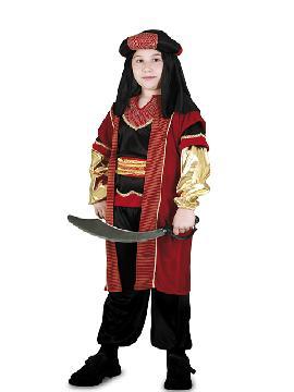 Disfraz de sultán real niño. Serás el más rico y poderoso en tus Fiestas Temáticas, navidad o cabalgatas de reyes. Prepárate para que todas las niñas caigan rendidas a tus pies, y deseen ser tu princesa.