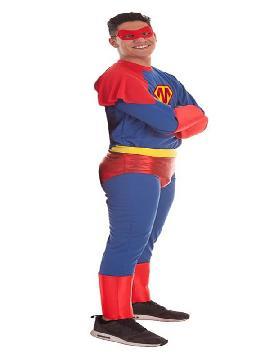 disfraz de super heroe azul y rojo para hombre
