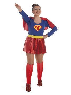 disfraz de super heroina azul y rojo para mujer
