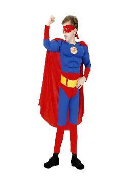 disfraz de superheroe superman musculoso niños. Convierte en un superheroe de comic. Este disfraz es ideal para tus fiestas temáticas de disfraces superheroes y comic para niños infantiles niños infantiles.