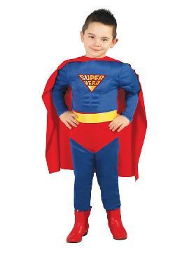 disfraz de superman musculoso para niño. Convierte en un superheroe de comic. Este disfraz es ideal para tus fiestas temáticas de disfraces superheroes y comic para niños infantiles niños infantiles.