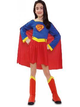 disfraz de superman niña infantil. nspirada en el cómic Dark Knight Returns la película presenta una trama en la cual Batman se ve en la obligación de detener a Superman, que empieza a ser considerado una amenaza para la humanidad. Ambos se ven inmersos en una contienda de poder a poder que se complica con una nueva y peligrosa amenaza que pondrá en peligro la existencia del planeta. Este superheroe es ideal para tus fiestas temáticas de disfraces superheroes y comic
