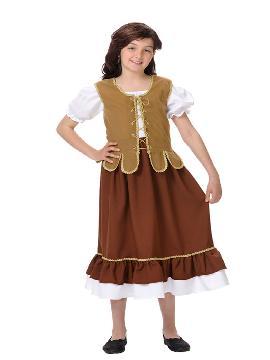 disfraz de tabermera medieval niña