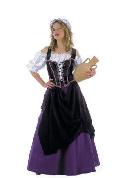 disfraz de tabernera medieval lila mujer