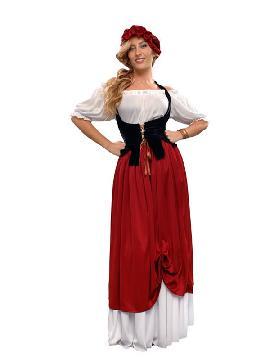 disfraz de tabernera medieval mujer. Te convertirás en una auténtica mujer de la época medieval cuando lleves este vexstido de campesina medieval para mujer, representaciones teatrales y mercados medievales. Este disfraz es ideal para tus fiestas temáticas de disfraces epoca y medievales para la edad media adultos