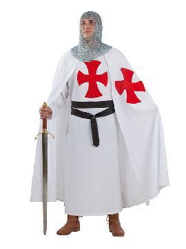 Disfraz de templario medieval hombre. Presenta la estética característica de los soldados Templarios que lucharon en las Cruzadas. Es un traje perfecto para lucir en ferias y mercados medievales o convertirte en un guerrero adulto. fabricación nacional