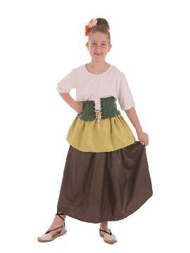 disfraz de tendera medieval para niña