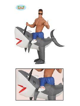 disfraz de tiburon a hombros hinchable hombre