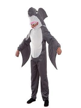 disfraz de tiburon divertido hombre adulto. Transfomate en el pequeño de la familia en el famoso tiburón de la película de Disney Pixar. Estará muy cómodo y calentito en Fiestas Temáticas o Carnaval. Este disfraz es ideal para tus fiestas temáticas de disfraces de animales para adulto.
