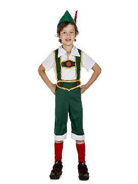 disfraz de tiroles verde para niños infantiles. Es ideal para vestirte como el típico disfraz de tiroles o campesino de los Países Bajos. Es ideal en fiestas temáticas, festivales escolares, oktoberfest. Este disfraz es ideal para tus fiestas temáticas de disfraces del mundo, países y regionales para grupos y familias infantiles.