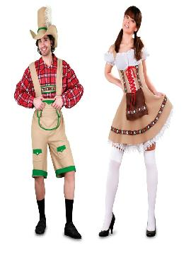 disfraz de pareja tiroleses para hombre y mujer adultos. Estos trajes de tiroles son los autenticos montañeros con sus atunticos disfraces.Este disfraz es ideal para tus fiestas temáticas de disfraces Del mundo por países y regionales para parejas de hombre y mujer adultos.